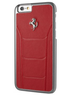 COQUE RIGIDE FERRARI 488 CUIR ROUGE SURPIQURES - IPHONE 6/6S